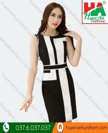 Đầm phối màu trắng đen