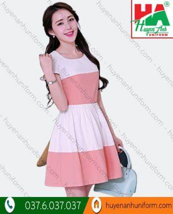 Đầm phối màu trắng hồng